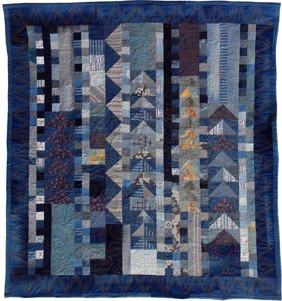 Denim quilt II, wedding gift for N&K