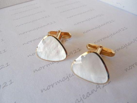 Vintage Goldtone & White Triangle Cufflinks