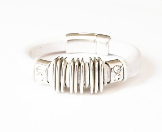 White Leather Bracelet Antique Silver Crystal Woman Free USA Shipping