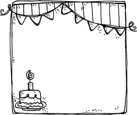 18+ Birthday border clipart black and white info