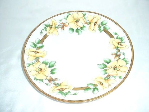 Hand Painted Yellow Floral Flowers Decorator Plate Signed Elsie Della  #Unknown