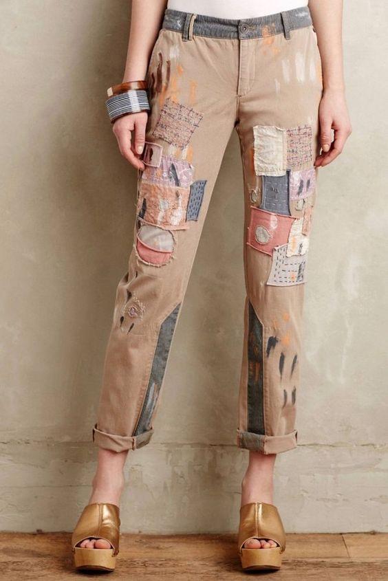 Anthropologie Pilcro Pants Hyphen Patchwork Chinos Paint Splatter #Pilcro #CasualPants
