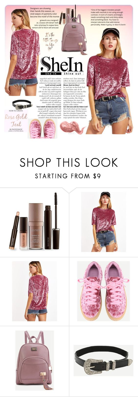 """Shein Pink Drop Shoulder Short Sleeve Velvet Top"" by miss-maca ❤ liked on Polyvore featuring Laura Mercier and Bobbi Brown Cosmetics"
