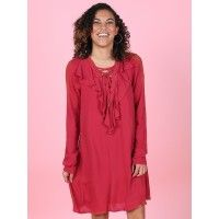 We can't get enough of this boldly colored dress! The crimson color and ruffles are sure to be a fun piece to mix and match with in your fall wardrobe! Layer and play around with this piece!    *Due to the unique nature of this fabric som