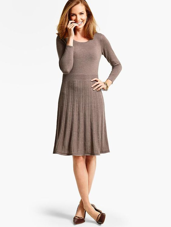 Merino wool pleated sweater dress talbots gorgeous for Talbots dresses for weddings
