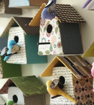 Fabric birdhouses by Tamar Moendorff