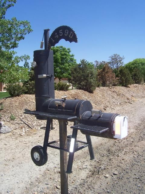Bbq smoker grill mailbox wacky mailboxes pinterest for Funny mailboxes for sale
