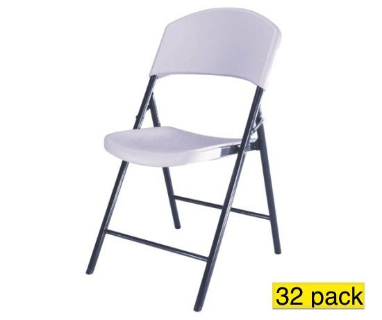 lifetime folding chairs 2810 white granite light duty commercial