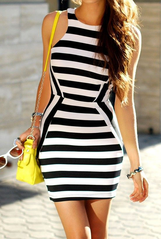 stripes dress, makes your body comes out its sexy look ..  A new breakthrough 15 minute Workout App to guide you with Day-by-Day diets and fitness workouts that will transform your body into New You: strong, slim and fit!
