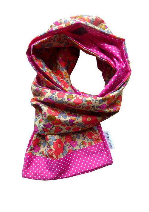Foulard liberty betsy fluo thé et fuchsia à pois : Echarpe, foulard, cravate par crocmyys