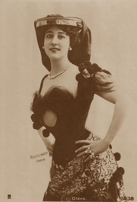 """Singer and Stage Actress, Carolina Otero (La Belle Otero)...one of the """"grande horizontales"""" of the Epoque...her acting and dancing skills adequate, her """"oral"""" skills reputedly unsurpassed...!:"""