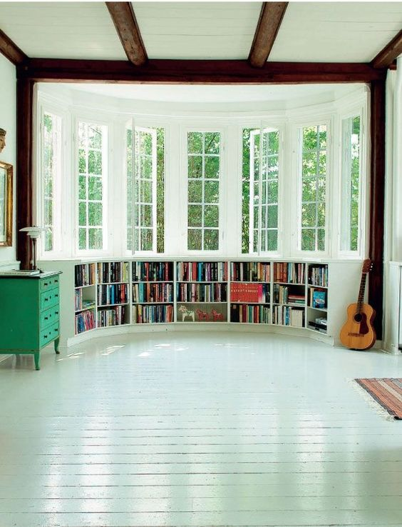 Bay Window; A set of two or more windows that projects from the main wall line to form an alcove.