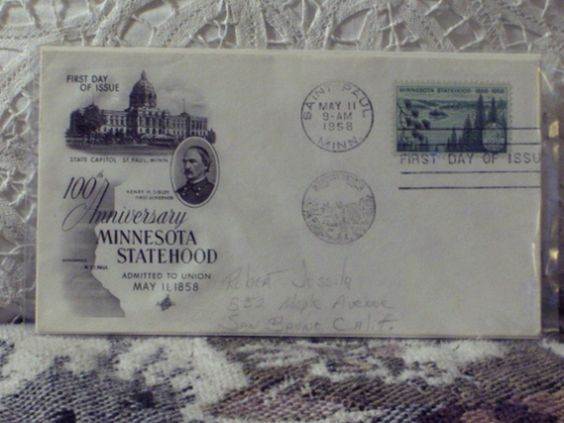 http://ajunkeeshoppe.blogspot.com/  First Day Issue / Cover - Stamp - Minnesota Statehood 1958 3c 8ozP725B4HP1188