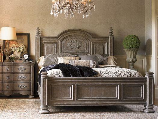 Textured mocha wood finish    La Tourelle Bordeaux Panel Bed Lexington Home Brands  www.swansfurniture.com