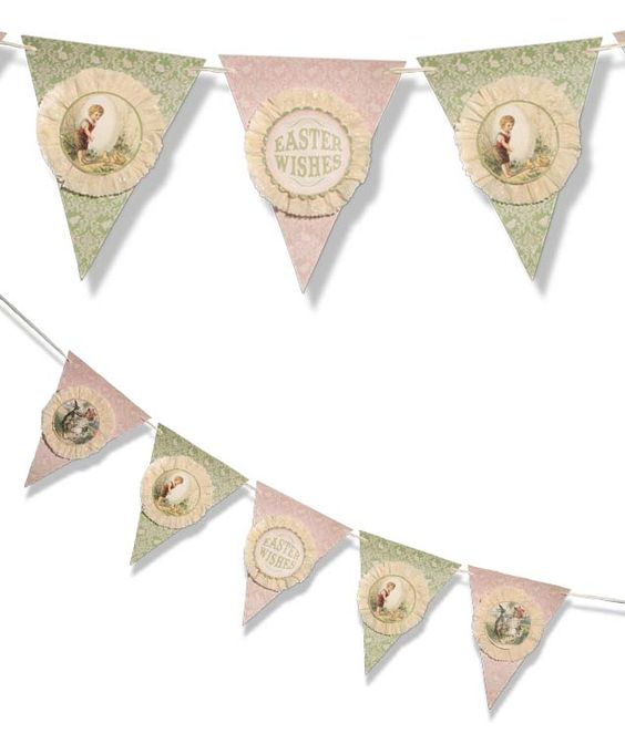 Easter Wishes Pennant Garland Vintage Style Easter Decorations