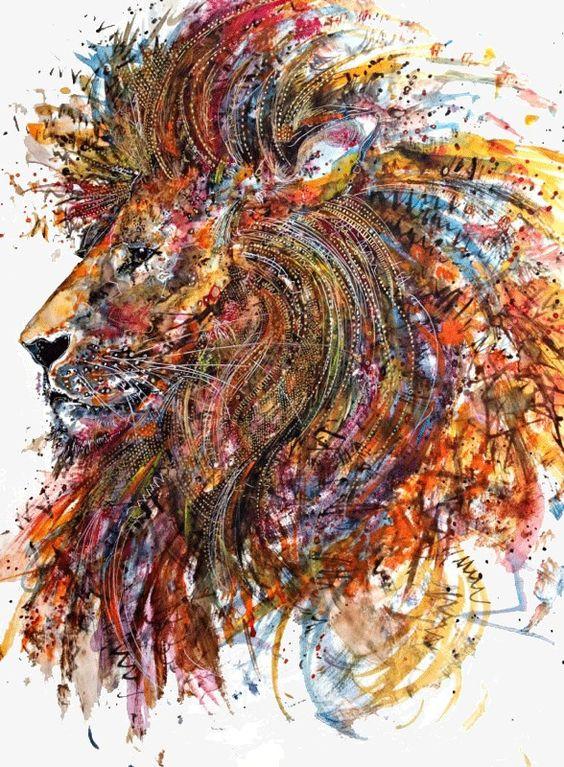 Creative pintura leão, Colorido, Creative, IlustraçãoImagem PNG