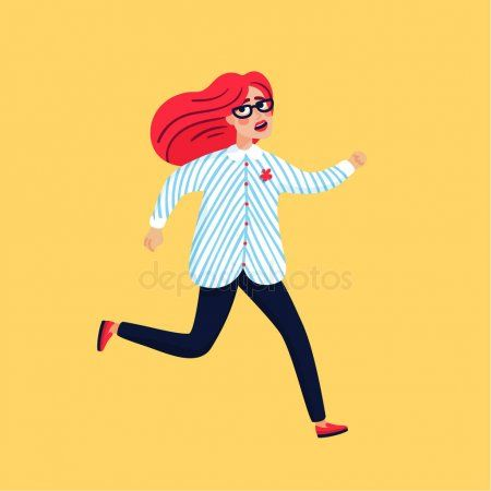 Scared young woman running away. Female character on yellow background, Flat sty , #SPONSORED, #running, #Female, #woman, #Scared #AD