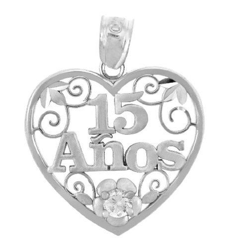 925 Sterling Silver Sweet 15 Años - Quinceanera Pendant Heart with Cubic Zirconia