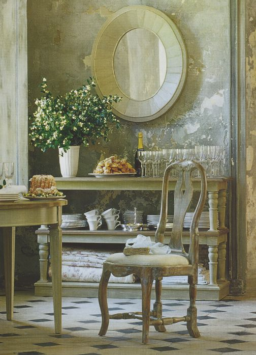 French Country Farmhouse decor in a dining room with neutral color palette. #frenchcountry #frenchfarmhouse #diningroom #rusticdecor #provence