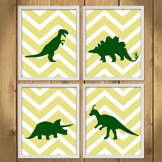 Dinosaur Nursery - Chevron, Dinosaurs, Zigzag.