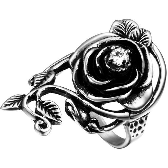 Flongo Womens Ladies Gothic Stainless Steel Rose Vine Band Ring ($4.99) ❤ liked on Polyvore featuring jewelry, rings, band jewelry, vine jewelry, gothic rings, gothic jewellery and rose ring