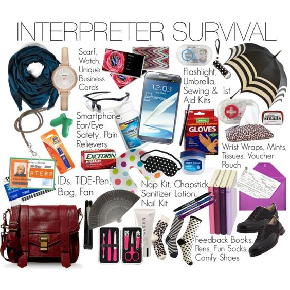 Interpreter Survival: the stuff a Sign Language Interpreter needs to get along in the world today! Everything from our signage vouchers, accessories for a quick nap between jobs, our funky socks, feedback books, the smartphone, our many ID tags, and oh so much more!
