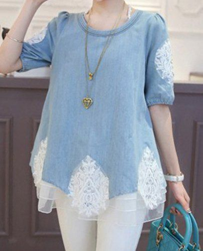 Lace Splicing Casual Scoop Neck Diamante 1/2 Sleeve Denim Blouse For Women