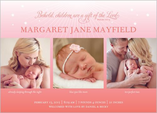 Behold Our Baby Girl Birth Announcement – Announce Birth of Baby Girl