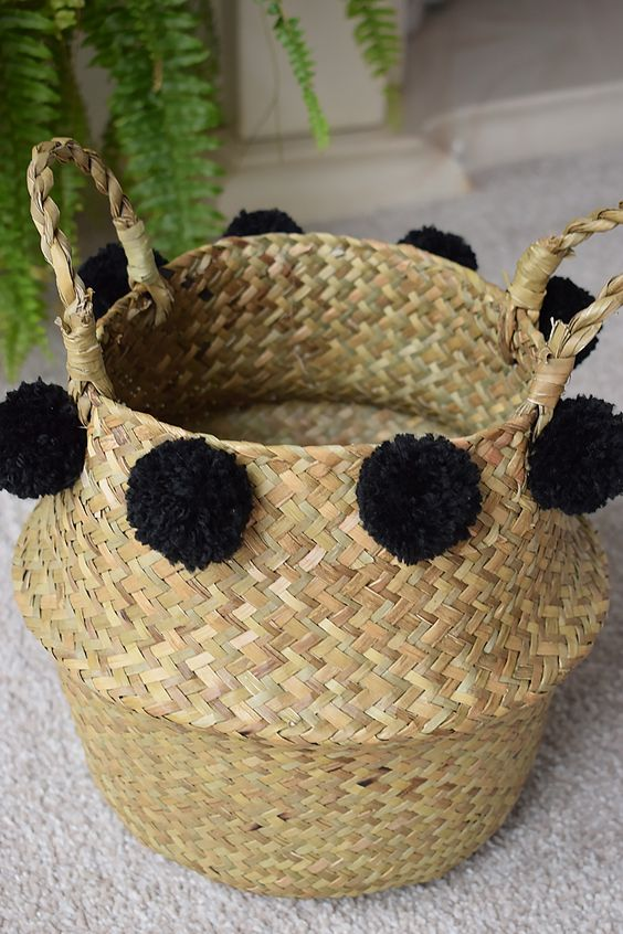 DIY pom pom belly basket Decorationst -Accessorise your home with my super easy belly basket decor tutorial | DIY Belly Basket Decorations | basket ideas | belly basket decor | belly basket DIY | belly basket hack | belly basket pomp | belly basked dipped | belly basket tassel | belly basket painted | belly basket pom poms | belly basket home | belly basket love | belly basket simple | belly basket black | belly basket gold