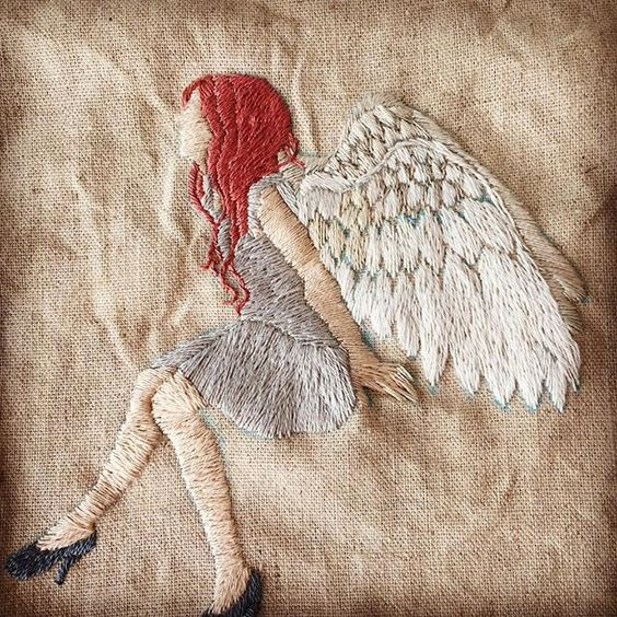 天使の刺繍