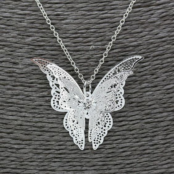 Sterling Silver Hollow Butterfly Pendant Necklace