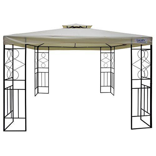 Metal Gazebo Patio Gazebo 10 X 10 Canopy Vented Roof Double Tier Roof Allows For Proper Airflow But Keeps Rain Out Also Grill Gazebo Gazebo Gazebo Canopy