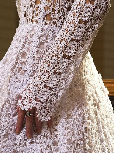 crochet lace wedding dress: