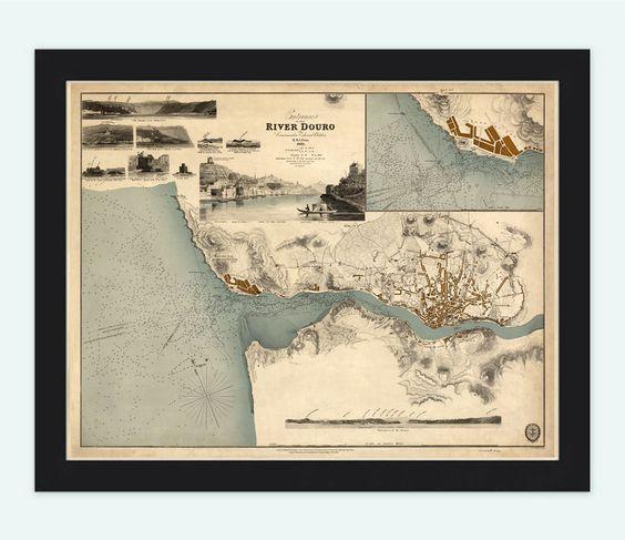 Old Map Oporto Porto Portugal with gravures 1833 Douro River