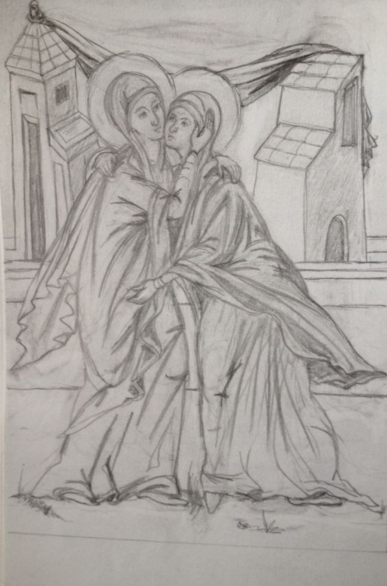 Drawing for icon of the Visitation