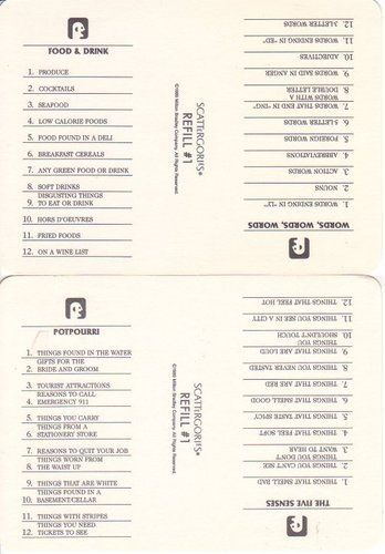It's just a photo of Gorgeous Scattergories Lists Printable