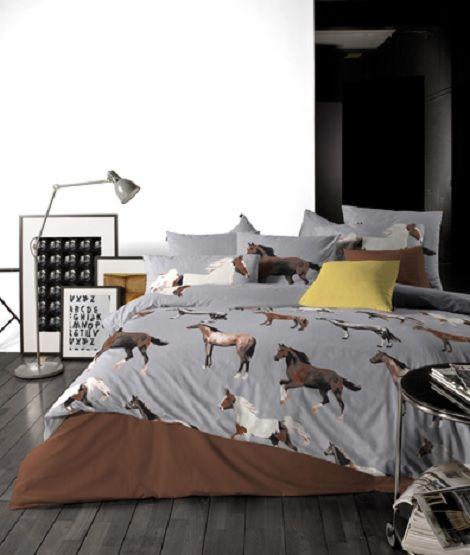 Slaapkamer Aankleden: Damai viva dekbedovertrek paarden grijs bruin ...