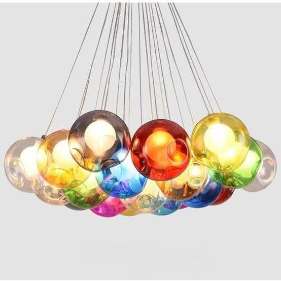 Noted Please Remark The Lampshade Color And Quantity You Want Lampshade Color Clear Red Gray B Glass Chandelier Modern Chandelier Bubble Lights