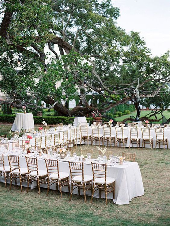 If you're being somewhat selective about your wedding guests, opt for a u-shaped arrangement, with chairs on either side. This gives people space to easily mingle with others.