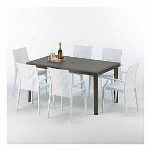 Table Rectangulaire 6 Chaises Poly Rotin Resine 150x90 Marron Bistrot Arm Blanc S7050setmk6pbib En 2020 Chaises Colorees Ensemble Table Et Chaise Et Table Et Chaises