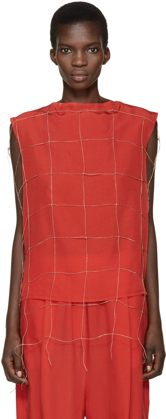 DAMIR DOMA Red Net Tetrix Blouse. #damirdoma #cloth #blouse