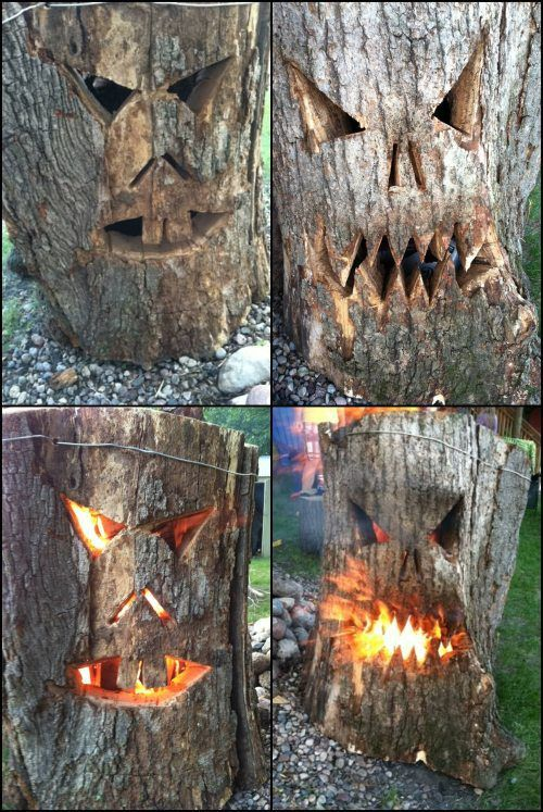 Tree stumps trees and carving on pinterest - Decoration halloween fait maison ...