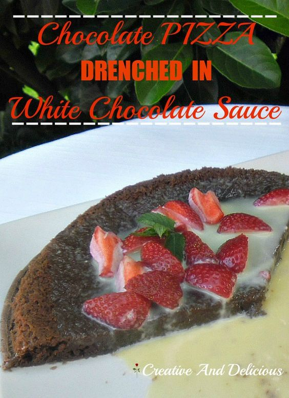 Drenched in White Chocolate Sauce !  #ChocolateDessert #ChocolatePizza #PizzaDessert