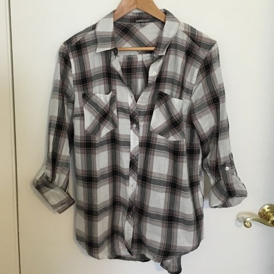 Charlotte Russe plaid shirt Charlotte Russe plaid cotton button down shirt with button 3/4 sleeves. Charlotte Russe Tops Button Down Shirts