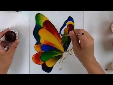 Glass Painting A Butterfly Using Pebeo رسم فراشه على الزجاج Youtube In 2021 Glass Painting Colorful Butterflies Painting
