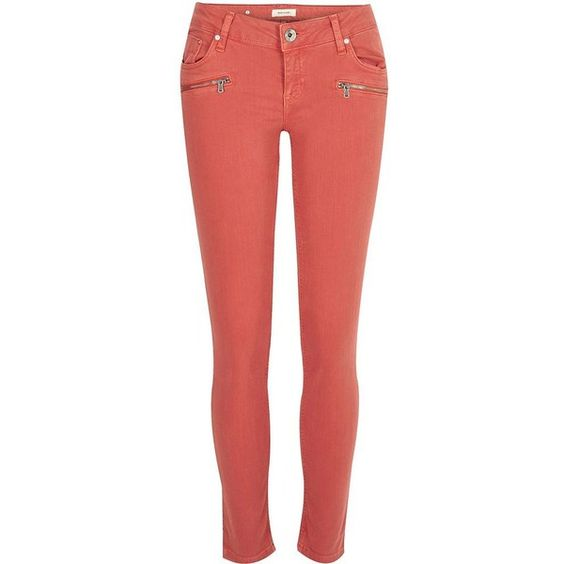 River Island Red Cara zip pocket skinny jeans (€83) ❤ liked on Polyvore featuring jeans, skinny fit jeans, skinny jeans, zipper denim jeans, denim skinny jeans and red skinny jeans