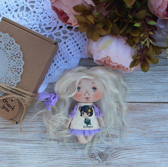 Textile doll Capricorn doll Fabric little handicraft doll Soft
