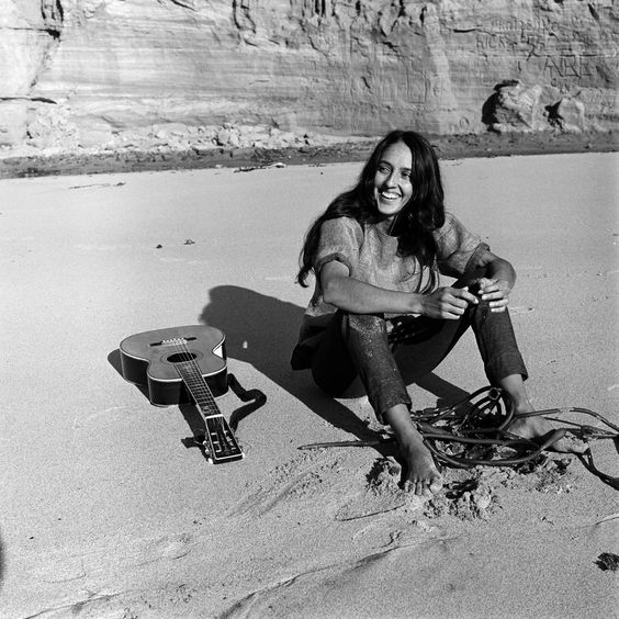 Folk singer Joan Baez on the beach near her home in Carmel, California, in 1962.