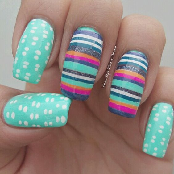 STRIPES  DOUBLE DOTS MANI Helloooooo girls! Ufff... almost a week without posting designs!! I was getting crazy for couldnt do any design.. but I come back with this stripes  dots mix. Hope you like it and enjoy your day!!!  | Check out http://www.nailsinspiration.com for more inspiration!