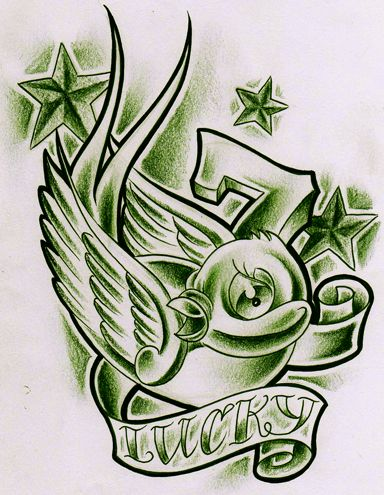 Other the banner and the o 39 jays on pinterest for Lucky seven tattoo